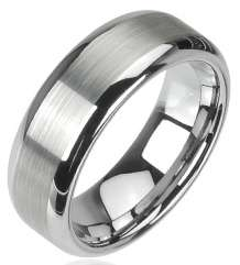 Pc Tungsten Carbide Mens Ring W/Matte Finish Center Sz5~Sz14