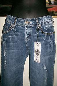 WOMENS JUNIOR BLUE LOW RISE STUDDED STRETCH FRAYED RIPPED JEANS CELLO