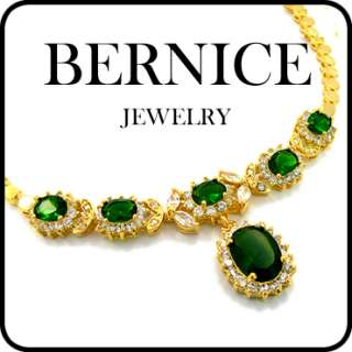 JEWELRY GREEN EMERALD YELLOW GOLD P PENDANT NECKLACE NECK CHAIN