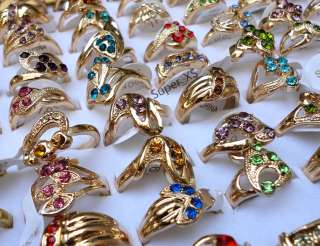 New wholesale jewelry lots 30pcs rhinestone gold Plated Rings free