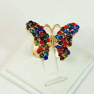 r6221 Charm Butterfly Colorized Diamante Cz Gold Plated Jewelry