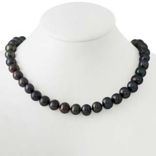 10 11mm Genuine Freshwater Cultured Black Pearls 17 Necklace w/ 1.5