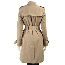 London Fog Womens Round Buckle Trench Coat