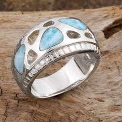Sterling Silver Pebble Larimar Ring (Dominican Republic)