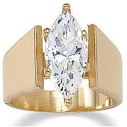 Ultimate CZ 14k Yellow Gold Overlay Marquise cut Cubic Zirconia Ring