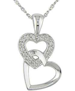 10k White Gold Diamond Double heart Necklace