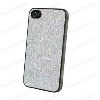 Silver Bling Bling Hard Case Apple iPhone4 with Protector