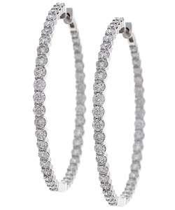 14k White Gold 6ct TDW Diamond Hoop Earrings (G H, I1)