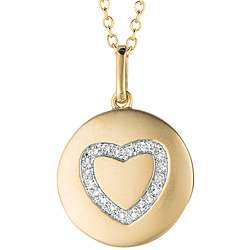 14k Gold and Silver Diamond Accent Heart Necklace