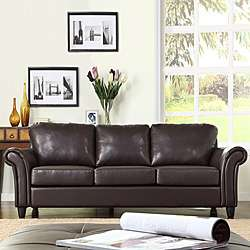 Petrie Dark Brown Faux Leather Sofa