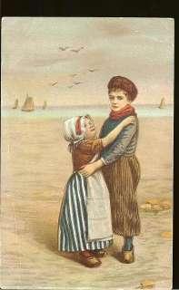 1908 Dutch Children Wooden Shoes Hats UDB Postcard