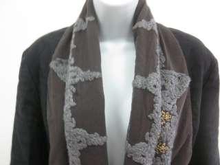 DRIES VON NOTEN Black Brown Crochet Blazer Jacket Sz 40