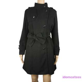 Lightblue Ladies Womens Vintage NEW Military Trench Coat Jacket