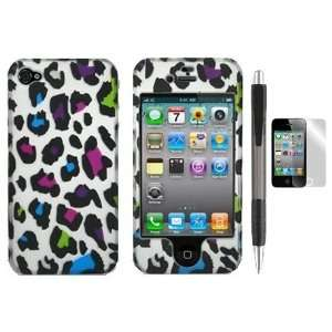 Colorful Leopard Design Protector Hard Case Cover for Apple Iphone 4