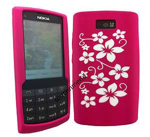 PiNK WITH WHiTE FLOWER SiLiCONE CASE COVER SKiN FOR NOKIA X3 02