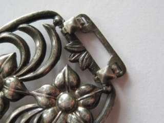 Vintage Art Nouveau / Art Deco Sterling Silver Flower Bracelet