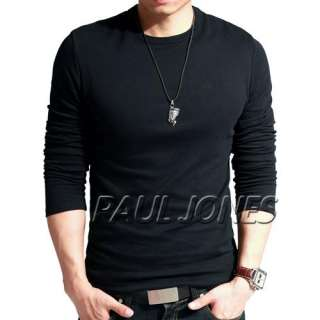 HOT Mens Slim Fits T Shirts Crew Neck Long Sleeve Tops Tunic Cotton