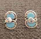 Sterling Silver Zuni Turquoise Snake Earrings Effie Calavaza Native