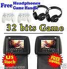 black 2x 7 inch car headrest dvd player radio tv