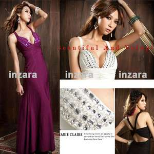 Gown Ball formal Cocktail Prom dress Evening Dress Black/White/Purple