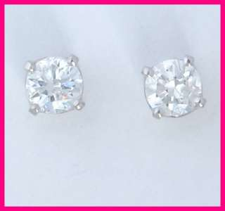 14k white gold round diamond solitaire stud earrings 44 carats total