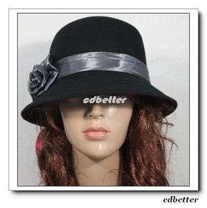 Womens Handcrafted Bling Gray Flowers Warm Black Fedora Bucket Hat Cap