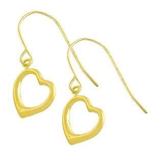 10 Karat Yellow Gold Open Heart Dangle Earrings: Jewelry
