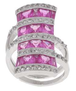 Rocks Sterling Silver Pink Sapphire Bold Four row Ring