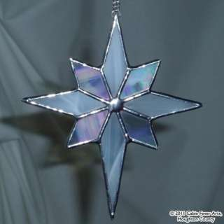 WHITE STAR in Stained Glass, Christmas Tree Ornament Silver