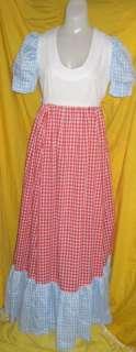 Dress Prairie gingham colonial long maxi sewn Vintage