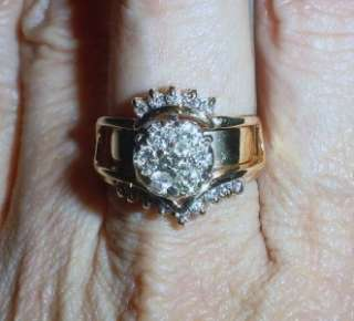 14K VINTAGE RING GUARD DIAMOND WEDDING SET   LB082