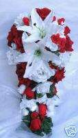 21pcs LILY Bridal bouquet wedding flowers RED / WHITE