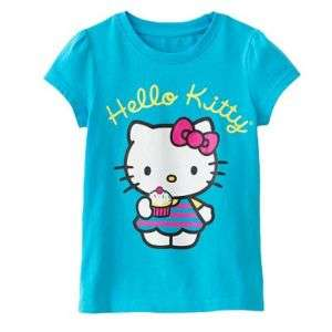 HELLO KITTY Girls Blue Short Sleeve Tee Shirt NWT $20