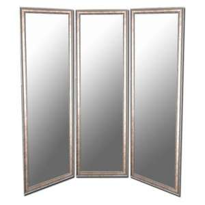 and Silver Full Length Free Standing Tri Fold Mirror   66W x 70H in