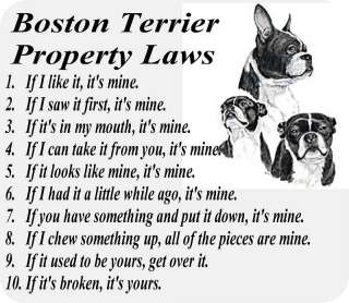 BOSTON TERRIER DOG PROPERTY LAWS   COMPUTER MOUSE PAD