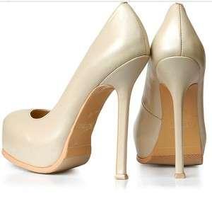 Beige Round Toe Platform Pump Stiletto High Heels Wedding Shoes