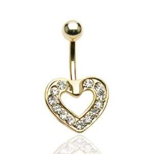 Gold Plated Heart Belly Button Navel Ring with Clear Gems