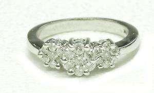 Estate 14k White Gold & Diamond 3 Cluster Ladies ring