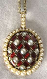 Victorian 15K Yellow Gold Enamel Diamond Pearl Necklace