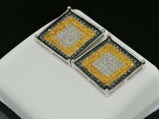 MENS 10K WHITE GOLD SQUARE 1CT DIAMOND STUD EARRINGS