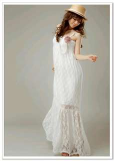 Womenss Trendy Boho Style New arrival Embroider Lace Maxi Dress #52 2
