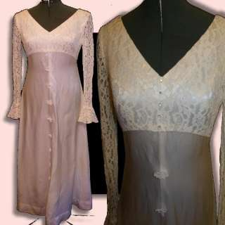 Vintage 60s White Ivory Lace Satin Wedding Dress XS S 34B Gown Hippie