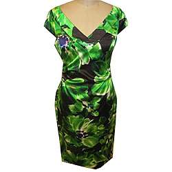 Maggy London Womens Green Printed Stretch Satin Dress