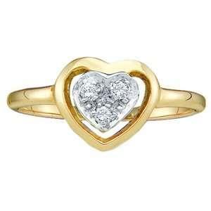 10k Yellow Gold Diamond Heart Ring SeaofDiamonds Jewelry
