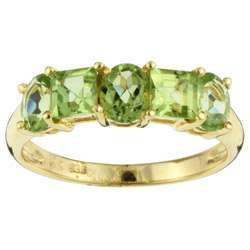 14k Yellow Gold Oval and Princess cut Peridot Ring (Size 5.75