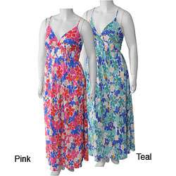 Style UP Womens Plus Size Floral Print Maxi Dress