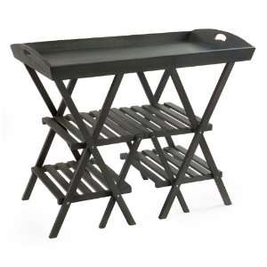 38 Matte Black Wooden Tray Style Garden Plant Stand