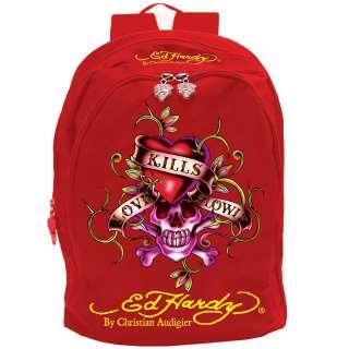 Ed Hardy Red Josh Love Kills Slowly Backpack  Red