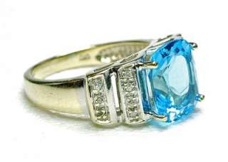 Vintage 14k White Gold Blue Topaz & Diamond ladies Cocktail ring 1990