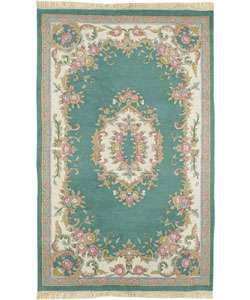 Hand knotted Aubusson Teal Wool Rug (5 Round)